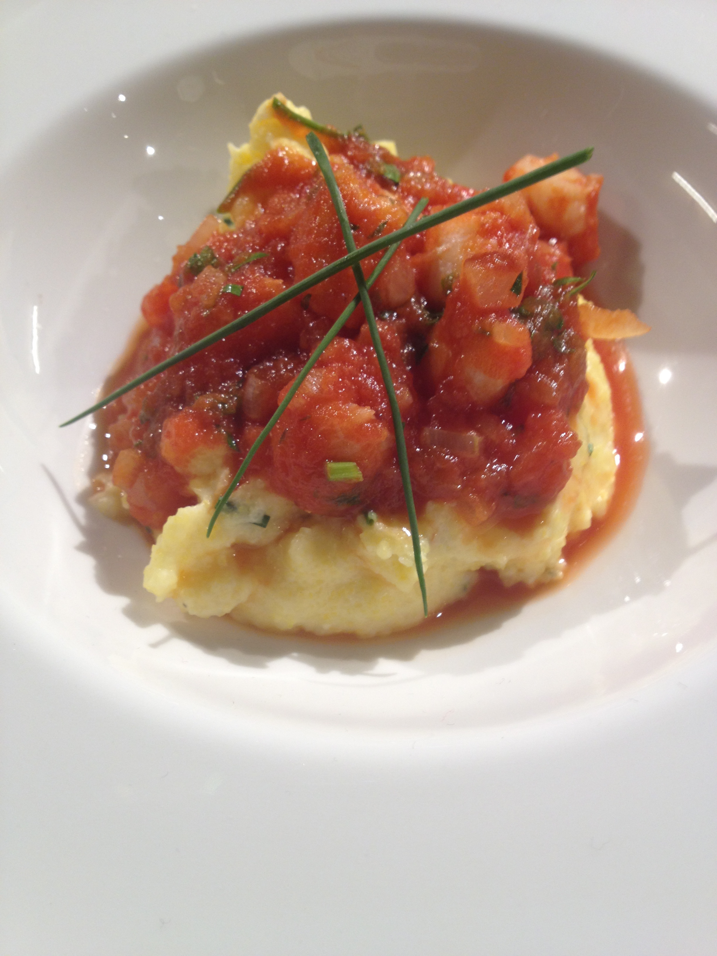 Shrimp with Parmigiano Reggiano Grits & Tomatoes