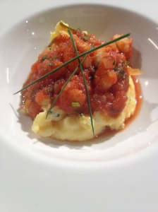 Shrimp with Parmigiano Reggiano Grits and Tomatoes